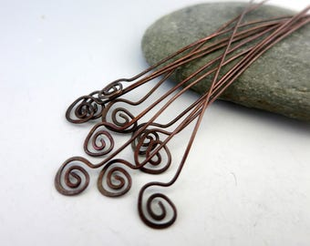 "Oxidized Copper Headpins Fiddlehead - 10 pieces - 22 gauge,  2 1/2"" inch length"