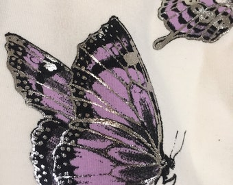 Silver Butterfly Leggings , ivory, silver, purple, leggings, printed tights, womens bottoms,