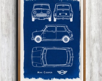 Mini Cooper A4 Hand coated traditionally made cyanotype blueprint