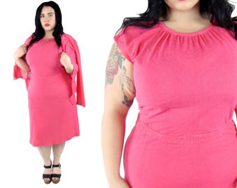 Plus Size Vintage 1970's Pink Two Piece Dress and Jacket - Size XL