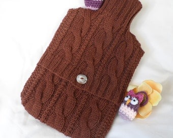 Hand Knitted Chocolate Brown Cabled Hot Water Bottle Cover/Cozy/Cosy