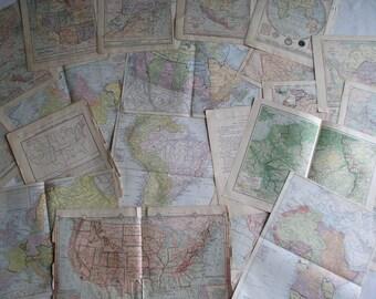 Vintage Map Lot, Vintage Map Pages, Map Lot, Antique Maps
