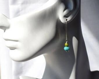 Czech Glass Earrings, Blue Earrings, Sterling Earrings, Olive Green Earrings, Turquoise Earrings, Bright Earrings Everyday Blue Green Summer