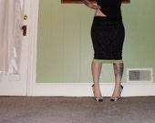 CLOSET SALE - Feral Feline - A Black Leopard Pencil Skirt