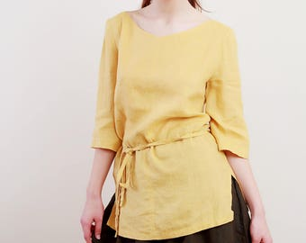 Linen Tunic for Woman 3/4 Sleeves / V-Neck Linen top in Mustard Color/ Linen Tank/Linen Top Eco Friendly/ Linen Blouse