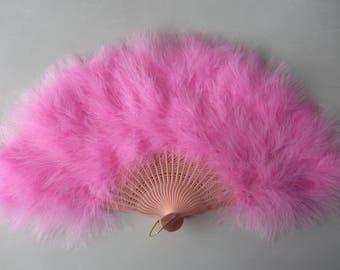 1Pcs Burlesque12*20inch Dance  feather fan Bridal feather Bouquet Pink