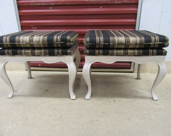 PRETTY PARIS PAIR / Pretty Pair Of Upholstered French Style Ottomans / Paris Apt.