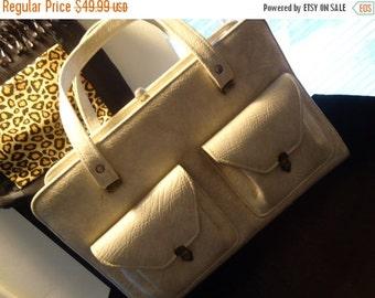 Christmas Sale Retro Tan Rockabilly Handbag 1960's Collectible Purse Mid Century Vintage Bag Martini Mermaid