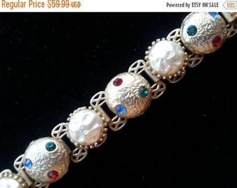 On Sale Stunning Rhinestone Bracelet 1950's Hollywood Regency Mad Men Mod 60's Style Retro Collectible Chunky Statement Jewelry
