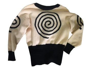 Black and White Curly Q Wool Batwing Funky Chunky Knit 80's Sweater
