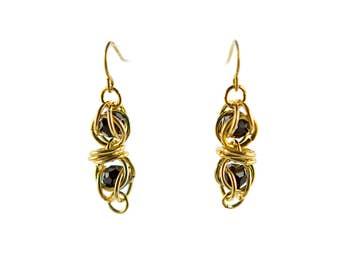 Gold Swarovski Captured Crystal Earrings, chainmaille crystal earrings, chainmail earrings, crystal earrings, 14kt gold fill earrings