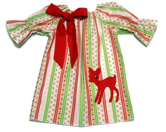 Girls Christmas Peasant Dress Vintage Reindeer Applique Red Bow Size 3-6 mo, 6-12 mo, 18 mo, 2T, 3T, 4T, 5, 6, 8