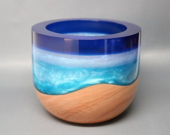 Handcrafted Turned & Carved Maple Wooden Bowl with Pearl Blue Resin Housewarming Wedding Engagement Gift Collectible Art Gift Box Included