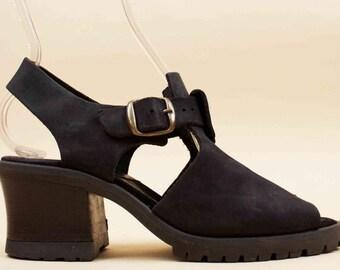 90s Vtg Black Thick Leather Platform Sandals / Chunky Tread Biker Grunge Boho Ankle Strap