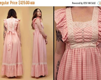 25% OFF 60s 70s Vtg Nos GINGHAM Cotton Candy Pink COTTON Lace Bib Maxi Dress / Candi Jones Flutter Sleeve Boho Hippie Kawaii Dolly / Xs Sm