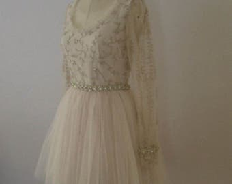 Tulle Beaded and Embroidered Lace Dress Short Prom Party