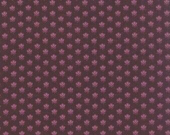 15% off thru 2/28 ALICES SCRAPBAG Moda fabric by the half yard 100 Percent quilt weight cotton Civil War Mauve flowers on dark purple 8311-1