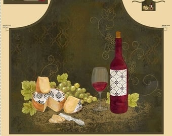 15% off thru 3/31 fabric panel ITs WINE O'Clock- makes apron- by Wilmington Fabrics- 30 by 44 inches-bottle, glass cheese 42395-195