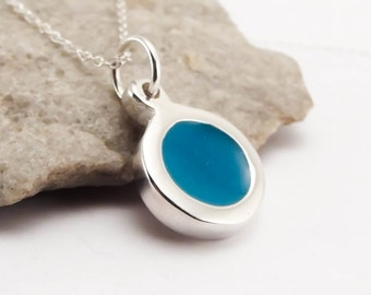 Circle Pendant Necklace Sterling Silver with Colored Resin Fashion Jewelry for Women