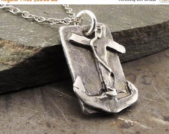 SPRING SALE 25% OFF Faith Hope Love Anchor Pendant Necklace Sterling Silver Handmade Jewelry for Men or Women