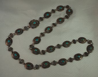 Signed Navajo Sterling Concho Belt with Turquoise, Navajo Concho Necklace