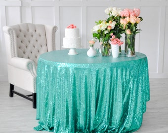 "Turquoise Sequin Tablecloth Table Cover for rectangle or round tables - 90"" x 132"""