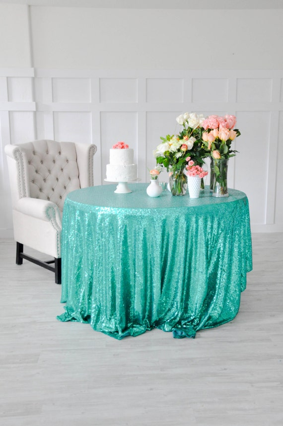 Turquoise Sequin Tablecloth Table Cover For Rectangle Or Round