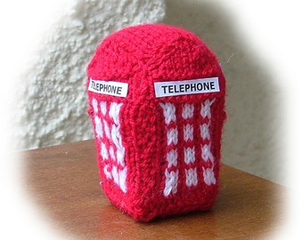 BRITISH TELEPHONE BOX  knitting pattern