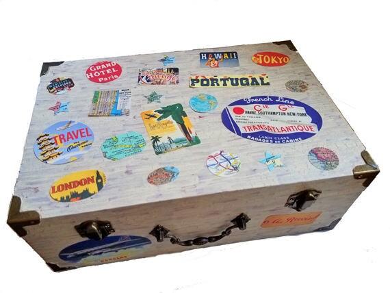 Wedding card box, travel theme wedding, vintage luggage labels, keepsake jewelry box, travel party decor, graduation gift box, valet box