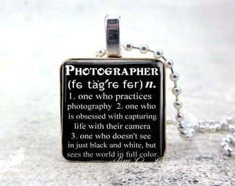 Photographer Necklace with Dictionary Definition on Wood Tile - Photography Thank You Gift - Photographer Quote Jewelry