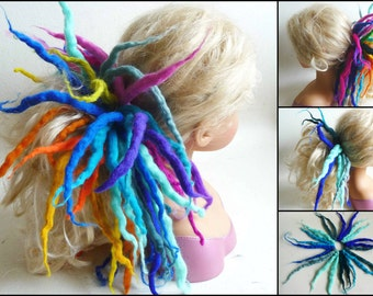 felted dreads attached to ponytail elastic, 10x dreadlocks, hair bobble, accessories, wool, felt, handmade, MADE TO ORDER, extensions, pixie