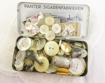 Vintage Tin, Mother of Pearl Buttons, Tin, Buttons, Glass Buttons