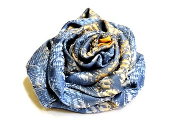 Blue Necktie Flower Brooch, Eco Chic Upcycled Mens Neck Tie Fabric Corsage, Necktie Art Flower Lapel Pin itsyourcountry