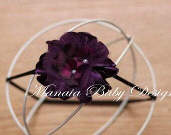 Eggplant Flowered Headband