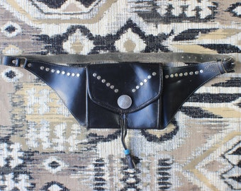 Belt Wallet  / Black Leather Studded Waist Purse / Vintage Silver Coin Accessory