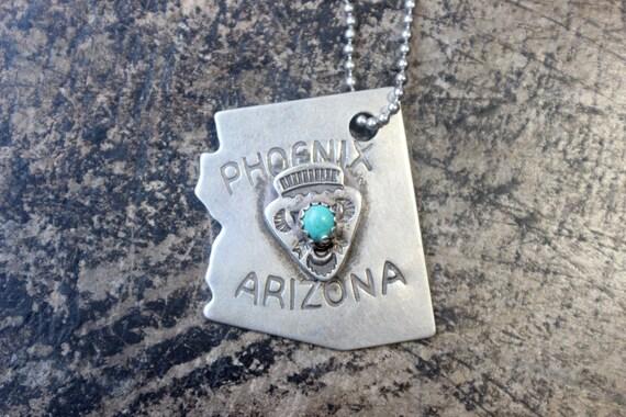 Arizona Dog Tag Necklace / Fred Harvey Era Phoenix AZ Pendant / 1930's Sterling Arrow Charm Necklace