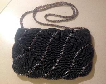 Black Vintage Beaded Clutch Purse