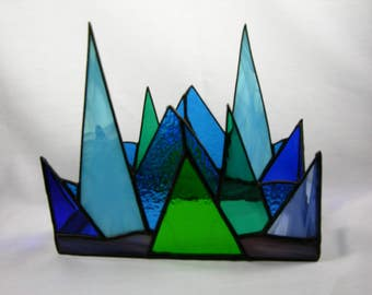 Stained Glass Letter Box, Triangular Blue, Green, Teal, Clear, Purple and Black