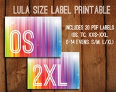 Printable Lularoe Sizing Signs // 20 sizes included // Printable PDF // Lularoe Consultant // Rainbow Unicorn