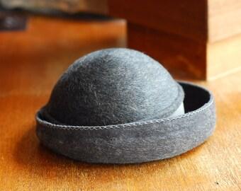 vintage 1950s grey wool hat