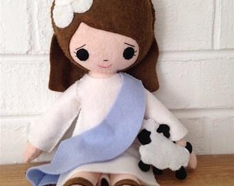 Catholic Toy Doll - Saint Agnes - Wool Felt Blend - Catholic Toy - Felt Doll
