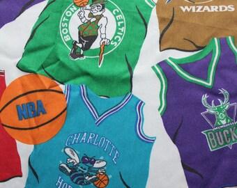 Vintage NBA Basketball Team Jersey Twin Size Flat Sheet 1997