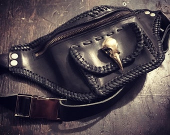 Leather Fanny Pack with Silver Skull Closure