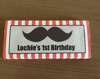 Little man, moustache, moustache bash chocolate wraps