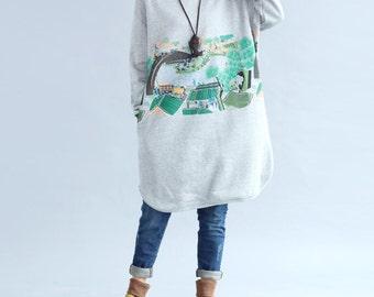 Gray/ Black Loose Fitting Cotton pullover dress Large size Bottoming plus velvet dress