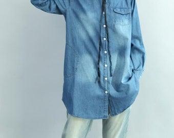 Leisure single breasted shirt/ Long asymmetry cowboy shirt