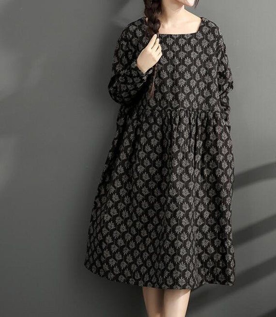 Cotton and linen loose long dress printed large size long winter bottoming dress