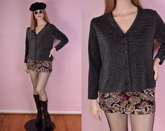 90s Black and Silver Metallic Top/ Large/ 1990s/ Button Down/ Long Sleeve