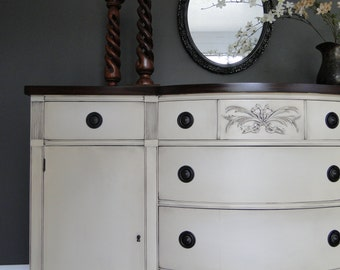 "SOLD***   Vintage Buffet, Sideboard, Entry Table Cream With Dark Stained Top ""Linen Cream"" Modern Vintage"