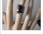 HOLDING --Antique Art Deco 14k Amethyst Seed Pearl Large Ring 8.4 Grams